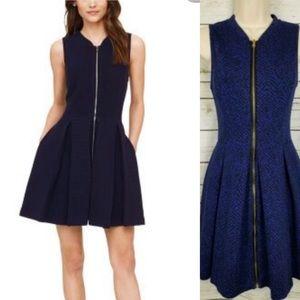 Club Monaco Sophie knit sz 2 blue zip dress